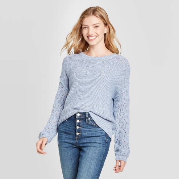Knox Rose Scoop Neck Pullover Sweater Pointelle